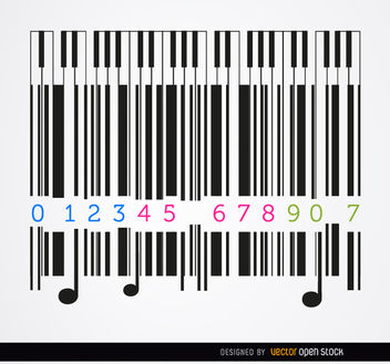 Codebar piano musical background - vector gratuit #163497