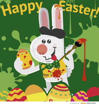 Easter rabbit artist painting eggs - Free vector #163567