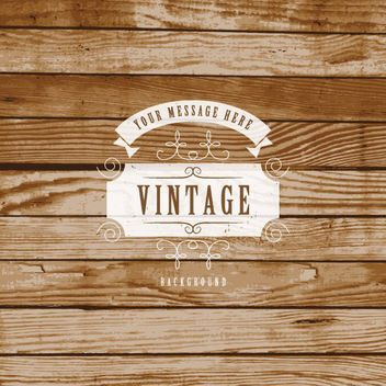 Creative Vintage Label Wooden Background - vector gratuit #163577
