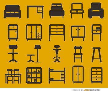 20 Furniture flat icons set - Kostenloses vector #163587
