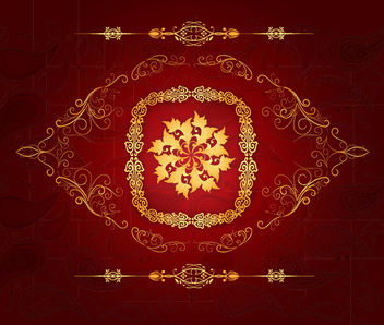 Golden Decorative Ornaments Red Background - vector gratuit #163607