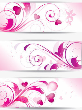 Purple Floral Banners with Hearts - vector gratuit #163617