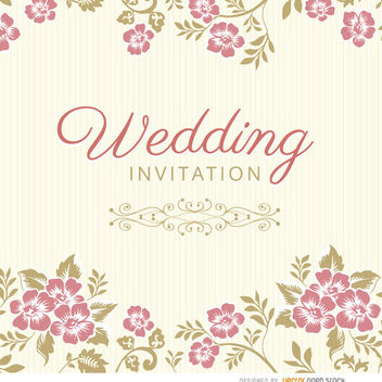 Floral leaves wedding invitation sleeve - бесплатный vector #163727