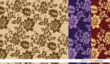 Brown flowers pattern background - Free vector #163737