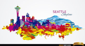 Colorful Seattle skyline - vector gratuit #163807