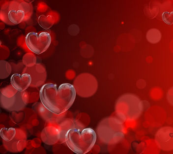 Fluorescent Bokeh Hearts Valentine Background - vector gratuit #163847