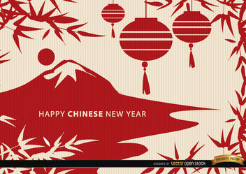 Chinese New Year landscape draw wallpaper - бесплатный vector #163867