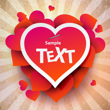 Stapled Valentine Heart on Retro Background - vector gratuit #163927