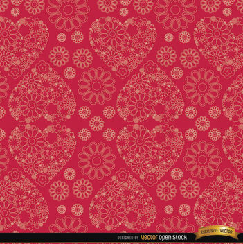 Flowers and hearts red pattern background - vector gratuit #164027