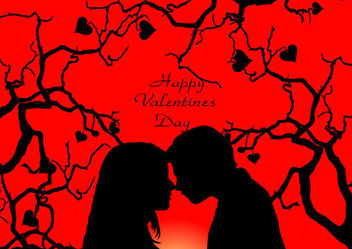 Romantic Couple on Heart Tree Valentine Card - vector gratuit #164047