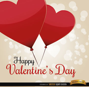 Valentine's Day heart balloons card - Free vector #164077