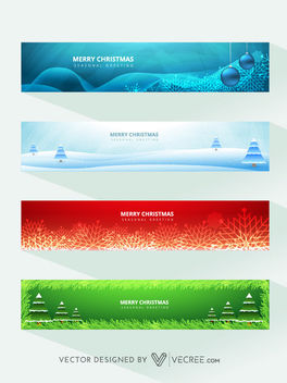 4 Beautiful Christmas Banner Templates - Free vector #164267