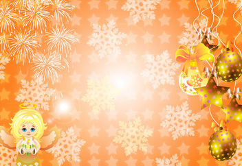 Bright Xmas Background with Stars & Ornaments - Free vector #164287