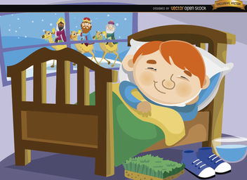 Boy sleeping wise men on window - vector gratuit #164297