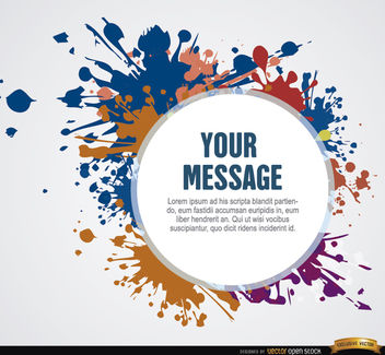 Paint stains with message circle - vector gratuit #164307