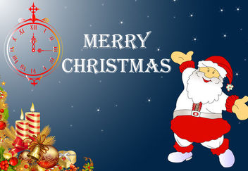 Happy Santa Claus Xmas Card with Clock - Free vector #164317