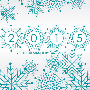 Christmas Snowflakes with New Year Letters - vector gratuit #164377