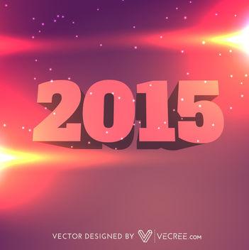 3D New Year 2015 Typography on Colorful Background - vector gratuit #164407