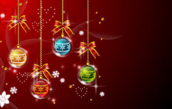 Multicolor Hanging Xmas Balls on Red Background - Free vector #164457
