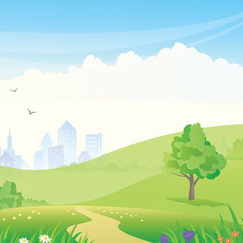 High Rise Skyscraper with Green Lawn - vector gratuit #164477