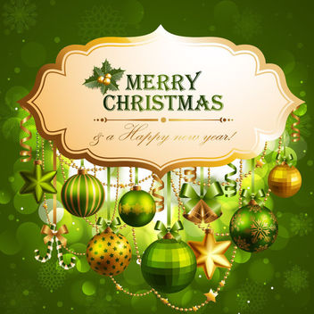Decorative Xmas Label on Shiny Green Background - Free vector #164497