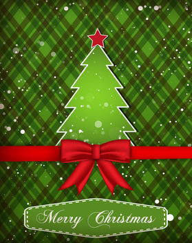 Paper Cut Tree Green Xmas Card - vector gratuit #164517