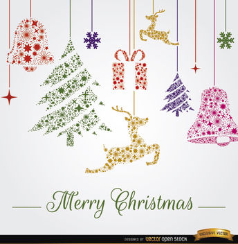 Christmas hanging ornaments background - vector gratuit #164567