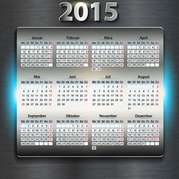 Glossy Digital 2015 New Year Calendar - Free vector #164597