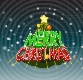 Christmas Typography on Decorative Pine Tree - vector gratuit #164637