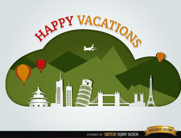 Vacations traveling world landmarks background - vector gratuit #164647