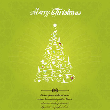 Hand Sketch Decorative Christmas Tree Greeting Card - Free vector #164747