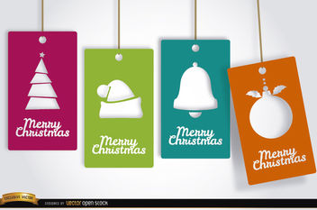 4 Christmas tag cards - vector #164767 gratis