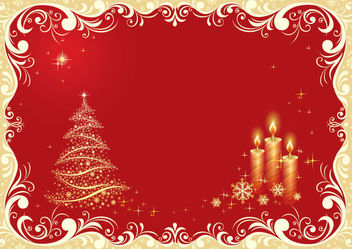 Christmas Tree and Candle Lights on Floristic Background - Free vector #164787