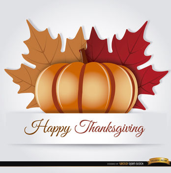 Thanksgiving pumpkin autumn leaves background - Free vector #164797
