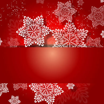 Red Christmas Invitation with White Snowflakes - vector gratuit #164817
