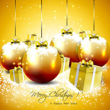 Shiny Christmas Ball & Gift Box Background - vector #164867 gratis