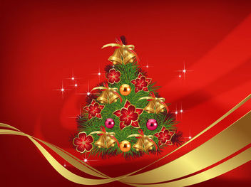 Decorative Christmas Tree on Red Abstract Background - vector gratuit #164877
