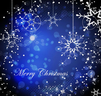 Shiny Decorative Blue Christmas Background - Free vector #164987