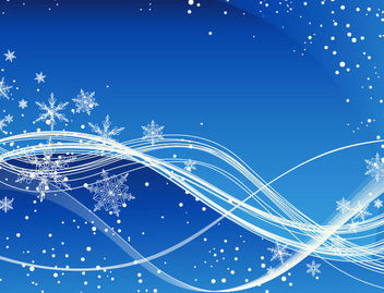 Swirling Blue Christmas Background with Snowflakes - vector gratuit #164997