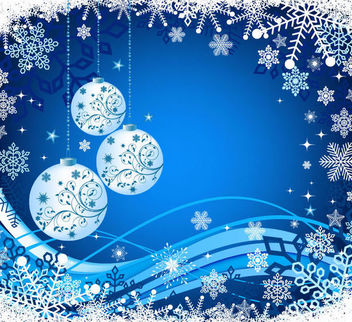 Christmas Background with Snowflakes & Baubles - Free vector #165007