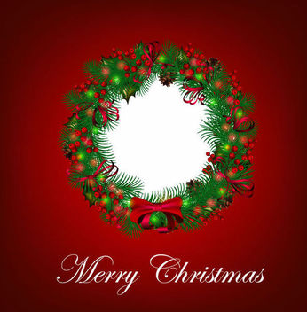 Decorative Christmas Wreath on Red Background - vector gratuit #165027