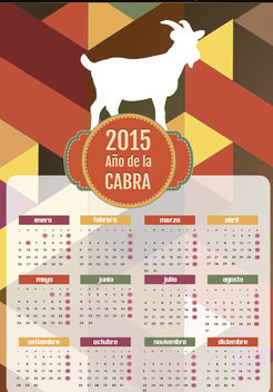 2015 Year of goat polygon calendar Spanish - vector gratuit #165047