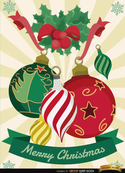 Christmas balls mistletoe background - vector gratuit #165067