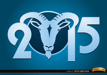 2015 Goat Year blue wallpaper - Kostenloses vector #165077