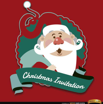 Christmas red Santa invitation label - Free vector #165147