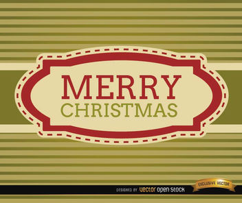 Merry Christmas stripes riband card - vector gratuit #165197