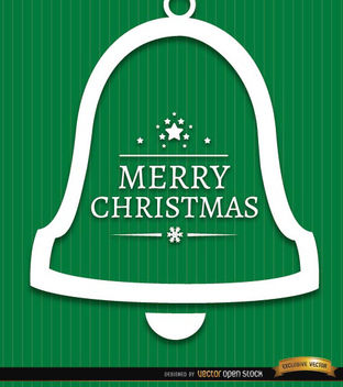 Merry Christmas bell green background - vector gratuit #165247