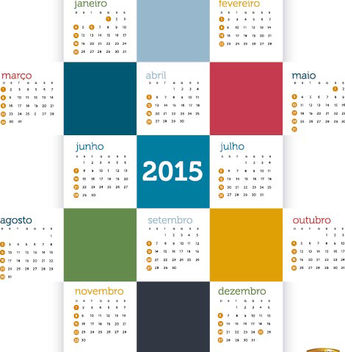 2015 Colored squares calendar Portuguese - бесплатный vector #165317