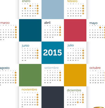 2015 Colored squares calendar Spanish - vector #165337 gratis