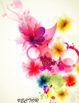 Fancy Abstract Floral Colorful Fluorescent Background - vector gratuit #165397